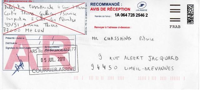 04 juillet 2011 : Délégation territoriale de Seine-et-Marne 77 - Accusé de Réception